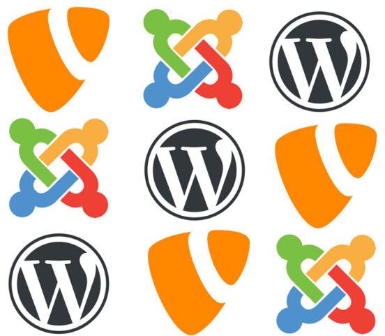 CMS Vergleich Logos Typo3 WordPress Joomla